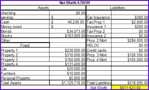 net worth worksheet excel