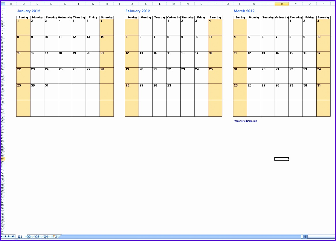 Attractive Sample Quarterly Calendar Template Excel E8zdr Lovely Quarterly Calendar  Template 1282909