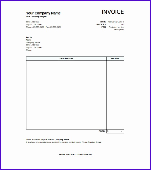 Blank Invoice Template Excel Excel Invoice Template Hotel Invoice Template Excel Ideal Format 532598