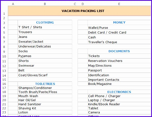 Free Excel Templates Vacation Packing List Double 578448