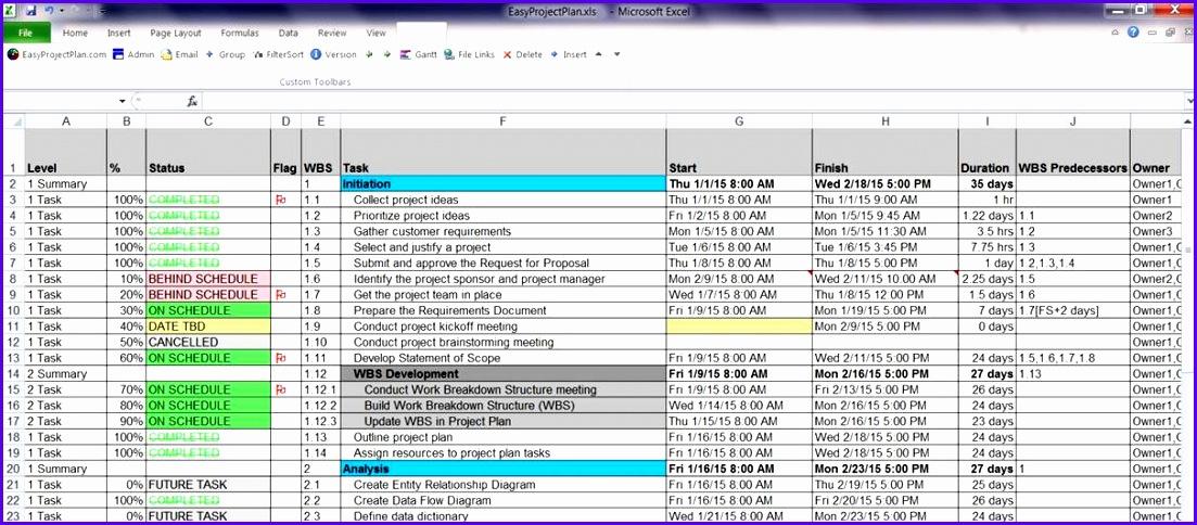 EasyProjectPlan© Excel Gantt Chart Template Planner Software 1103484