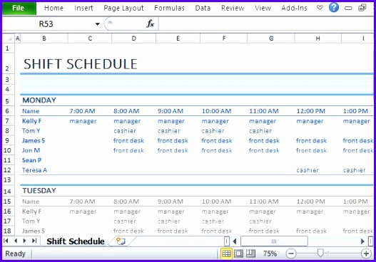 Assign Each Task to Each Employee to Prevent Redundancy This Employee Shift Schedule Template 527368