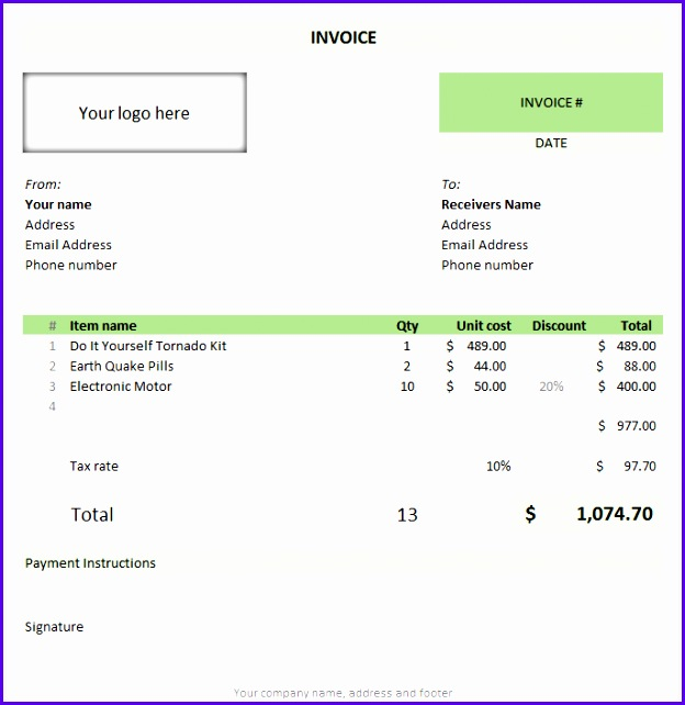 Free invoice template using MS Excel 624642