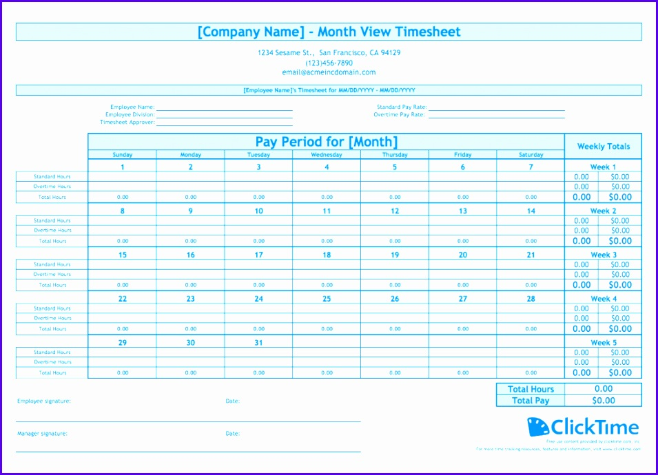 Sample Timesheet Excel Templates Ulbmt Inspirational Free Monthly Timesheet Template 1050750