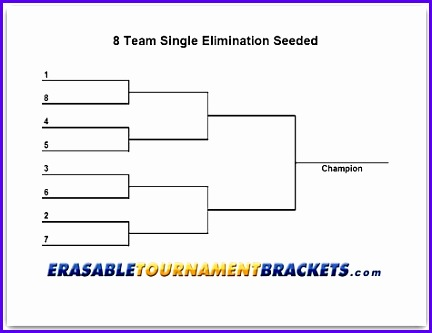 8 Team Single Seeded Tournament Chart 432333