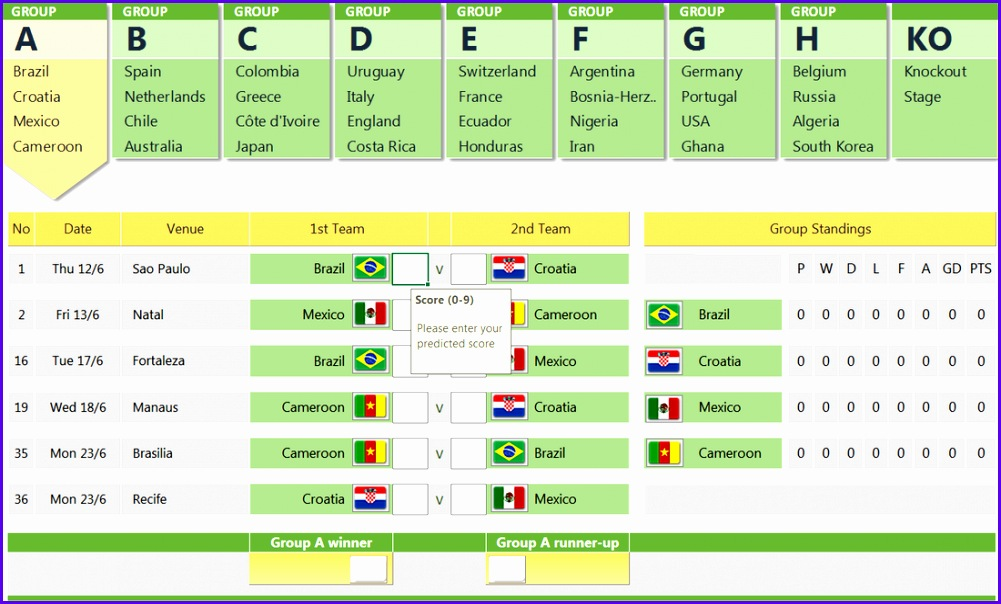 FIFA World cup 2014 free prediction template in Excel 1001604