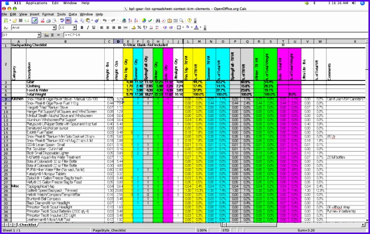 2005 Backpacking Light Trip Planning Spreadsheet Contest Entries 4