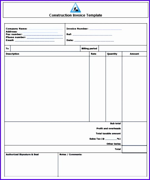 Builder Invoice Template Free Construction Invoice Template Excel Pdf Word Doc 500601