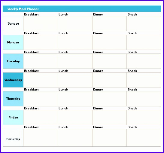 7 week planner template excel exceltemplates for Monthly dinner calendar template