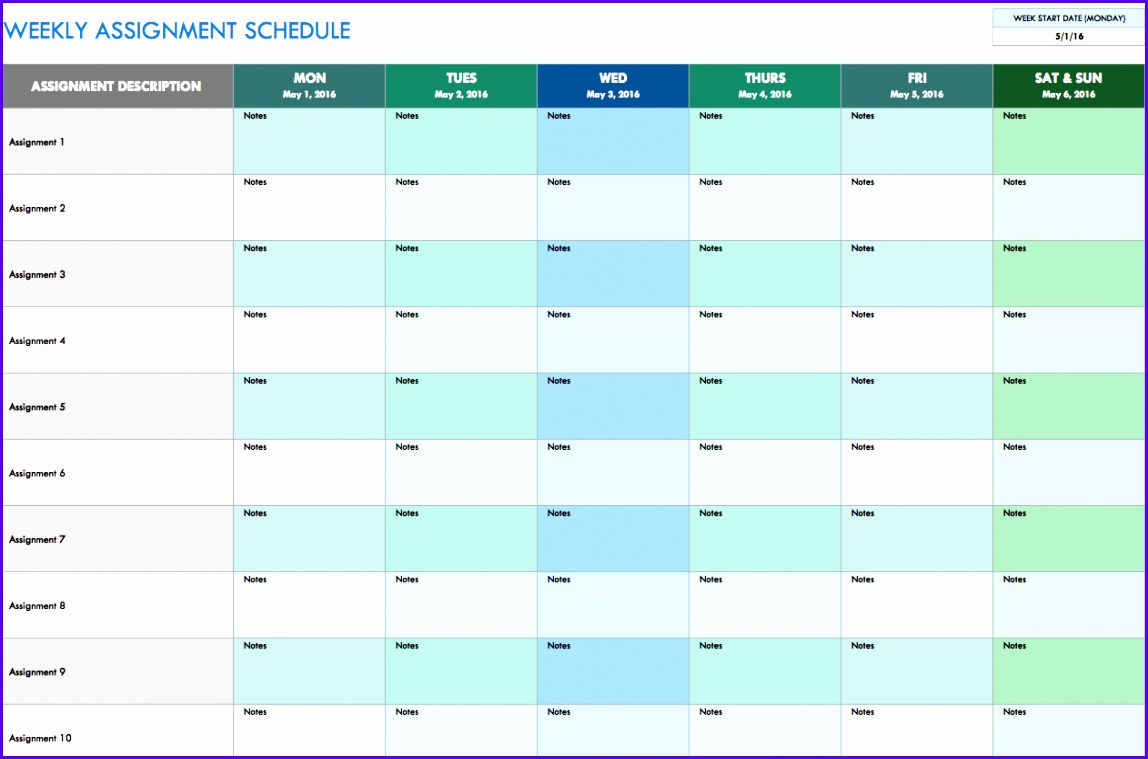 Sample Weekly Planner Template Excel Vdgbz Unique Free Weekly Schedule Templates for Excel Smartsheet 1262825