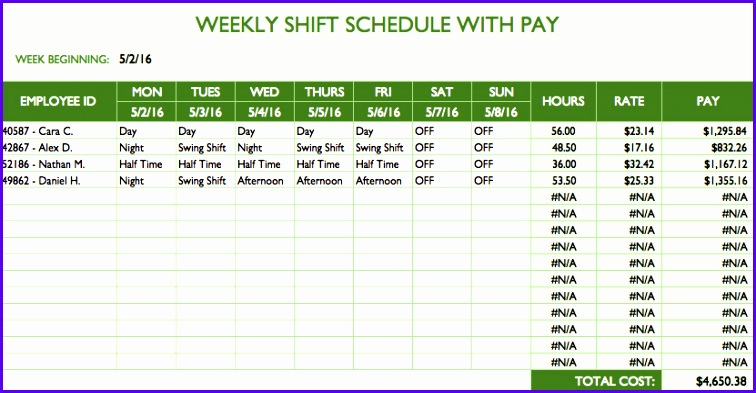 This free template shows a weekly shift schedule and calculates paid hours and labor costs based on your data You can adjust the starting day for the week 756393