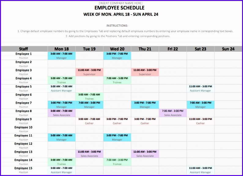 Employee Schedule Excel Template 795575