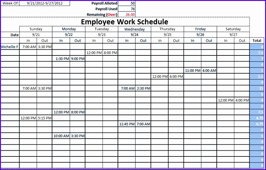Monthly Work Schedule Template Monthly Work Schedule Template 27 Work Schedule Template Excel 864552