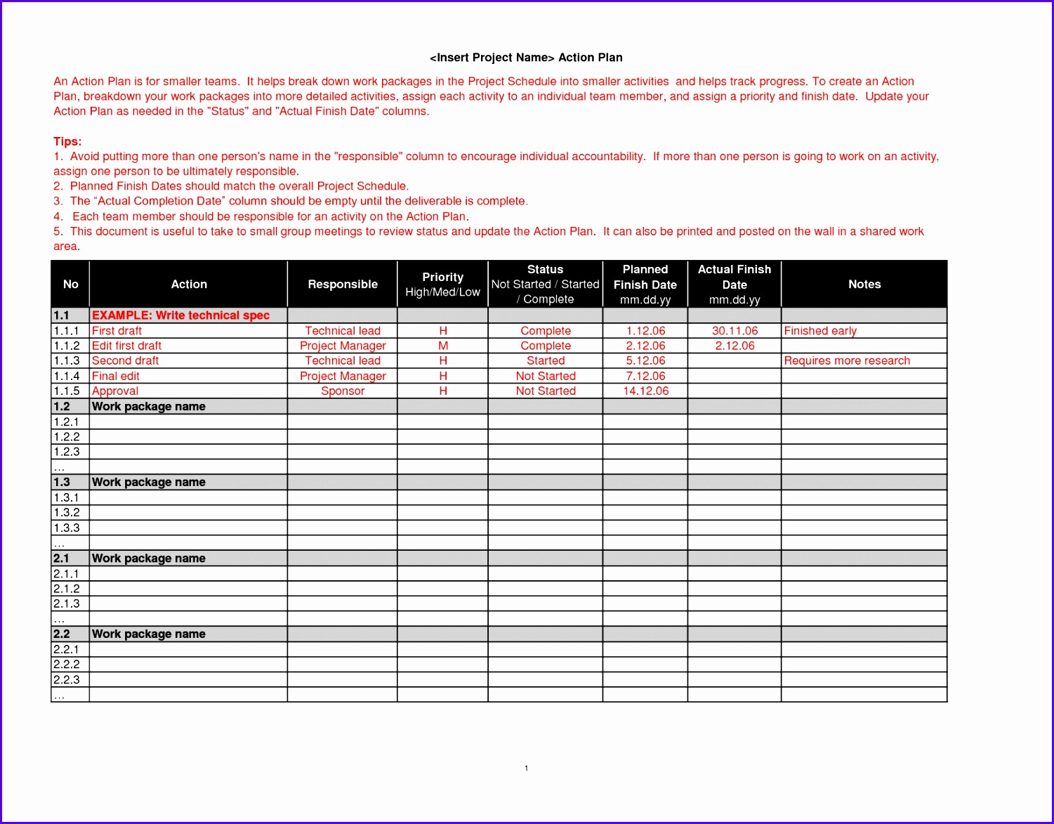 Project Action Plan Template Excel 15011173