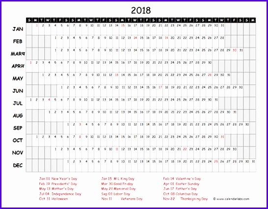 2018 Excel Calendar Project Timeline 546426